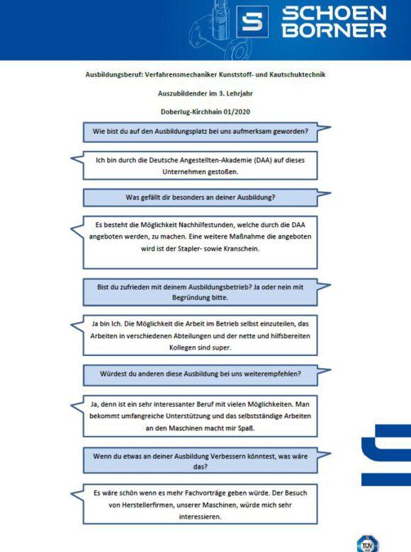 Interview Verfahrensmechaniker für Kunstoff- und Kautschuktechnik